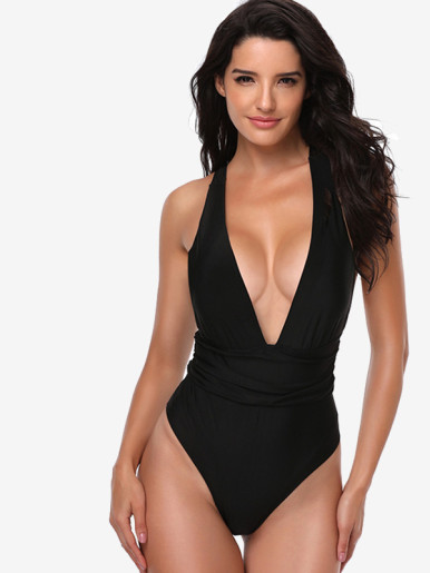 OneBling Ruched Detail Bandage Back Plunge V Neck Swimsuit