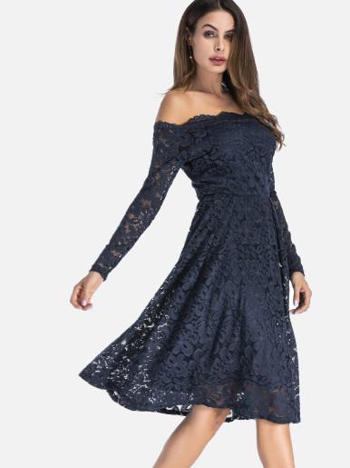 21971e15c3e7f OneBling Plus Size Long Sleeve Lace Overlay Midi Bardot Dress