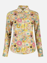 OneBling Turn Down Collar Floral Women Blouse