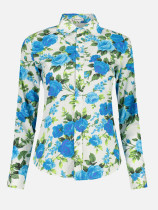 OneBling Floral Print Turn-Down Collar Women Casual Shirts