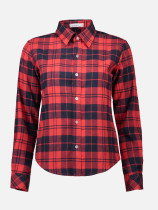 OneBling Plaid T-shirts Female Slim Casual Long Sleeve