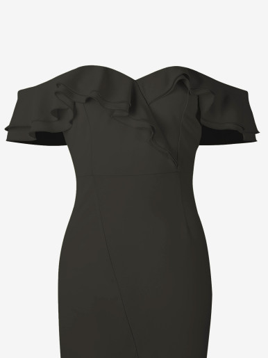 OneBling Sexy Off Shoulder Ruffle Mid Bodycon Dress