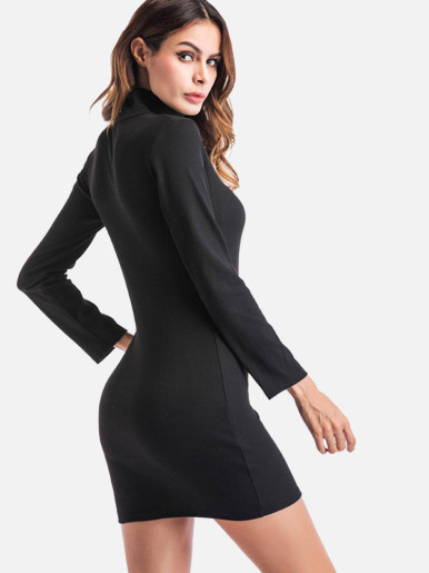 OneBling Turtleneck Solid Bodycon Dress