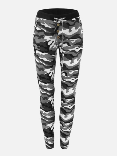 Button Front Drawstring Camouflage Pants