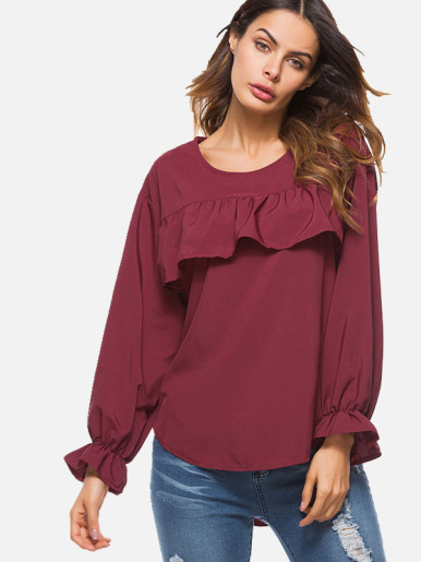 OneBling Women Casual O-Neck Long Sleeve Ruffles Solid T-shirts