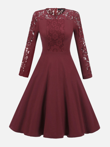 OneBling Contrast Floral Lace Swing Dress