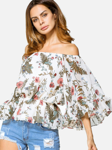 OneBling Exaggerate Fluted Sleeve Peplum Hem Printed Off Shoulder Blouses