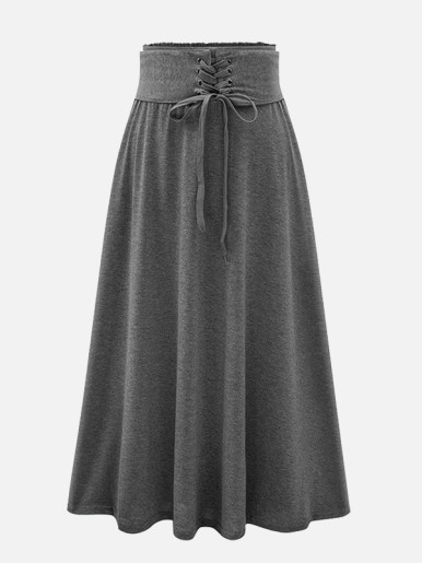 OneBling High Waist A Line Maxi Skirt with Croset Detail