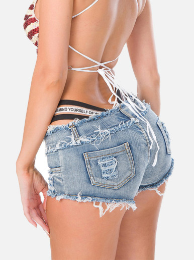 OneBling Sexy Micro Cut Off Women Jeans Low Waist Denim Shorts Hot Pants