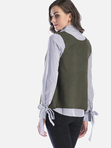 Loose Casual Knitted Vest Women V neck Knitted Sweater Tops Pullover