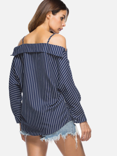 Sexy Off Shoulder Batwing Sleeve Loose Spaghetti Strap Tops Women Striped Shirts