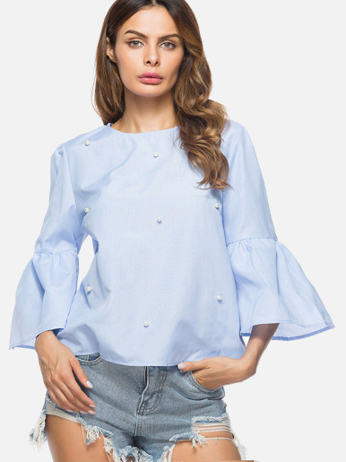 Loose Women Blouses Three Quarter Sleeve Beaded Shirts