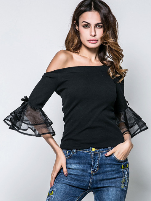Sexy Off Shoulder Slim Fit Women Tops Bow Flare Sleeve T-Shirts