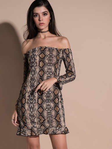 OneBling Snakeskin Print Ruffles Cuff and Hem Long Sleeve Off The Shoulder Dress