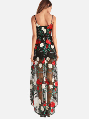 Floral Embroidery Mesh Overlay Maxi Cami Dress With High Low Hem