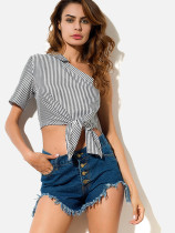 OneBling Knot Hem Striped One Shoulder Crop Tops