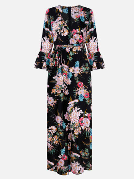 Ornate Print Fluted Sleeve Maxi Wrap Dress