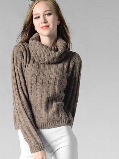 Women's High-necked Long Sleeves Slim Sweater Round Neck Pullover