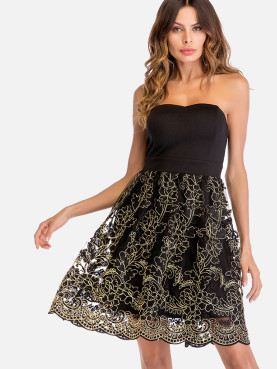 Gold Embroidery Lace Contrast Scallop Hem Bandeau Fit and Flare Dress