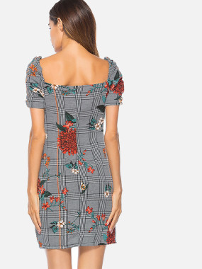 Square Back Draped Detail Surplice Wrap Dress with Plaid and Flower Print