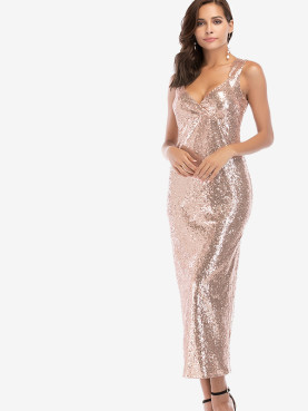 Plunge Neck All Over Sequins Maxi Tank Dress