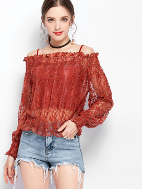 2 In 1 Off Shoulder Sheer Lace Blouses with Cami Slip and Shirred Detail
