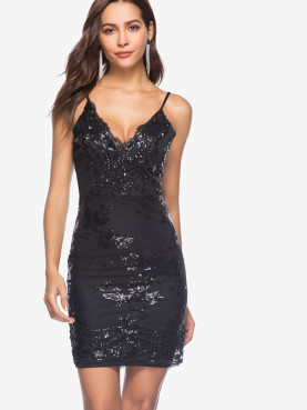 Open Back Sequins Embroidery Embellished Bodycon Mini Cami Dress