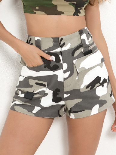 High Waist Straight Camo Shorts with Pockets Detail