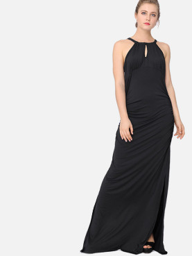 Keyhole Back Cutout Front Ruched Detail Slit Side Maxi Dress