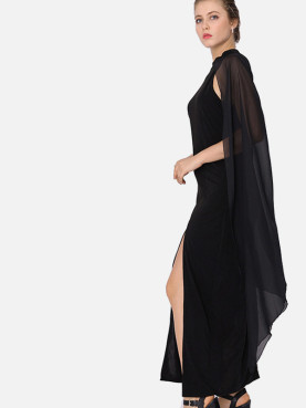 Split Front Mock Neck Maxi Dress with Chiffon Cape Sleeves Detail