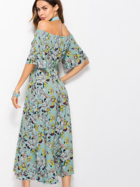 Flare Sleeve Printed Midi Off Shoulder Dress with Pephem