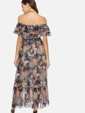Floral Print Double Ruffles Layers Off Shoulder Maxi Dress with Pephem