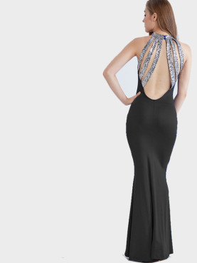 Sequins Strappy Back Sleeveless Maxi Fishtail Dress