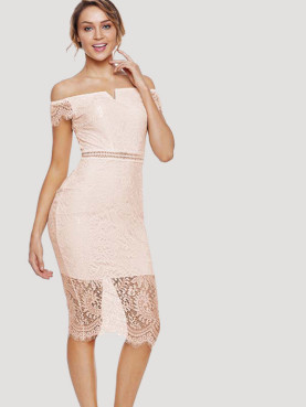 All Over Lace Scalloped Edge Off Shoulder Midi Dress with Pointelle Detail