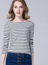 OneBling Plus Size Long Sleeve Striped T-Shirt