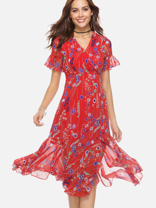 Asymmetric Ruffles Hem Fluted Sleeve Wrap Front Floral Print Dress