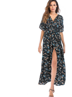 Batwing Sleeve Wrap Front Maxi Dress In Flame Print