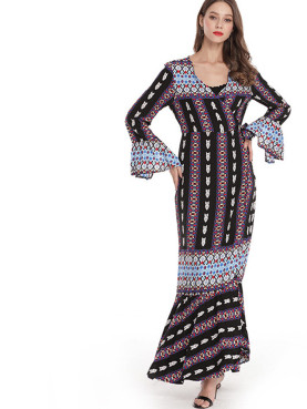 Fluted Sleeve Wrap Front Pephem Maxi Dress with Tribal striped Print