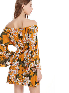 Floral Print  Fluted Sleeve Tie Front Off Shoulder Mini Dress with Pephem