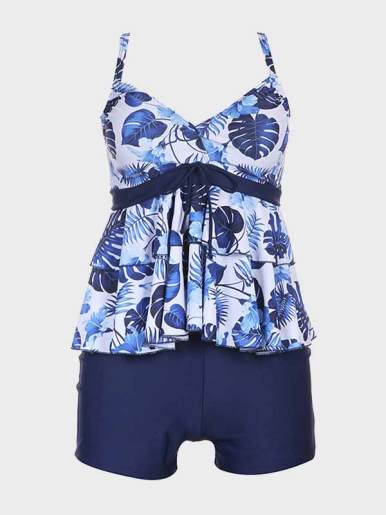 OneBling Tankinis Beachwear Bow Detail Leaf Print Tops and Shorts