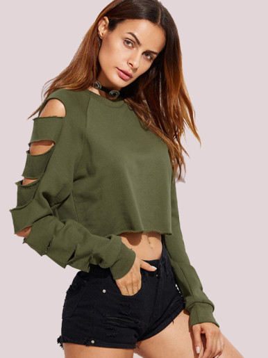 OneBling Women Pullovers Solid Color Round Neck Long Sleeve Hole Sweatshirts