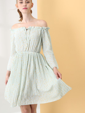 Dot and Striped Print Off Shoulder Pleated Dress with Tie Front and Fluted Sleeve