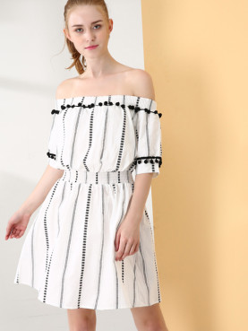 Textured Striped Mini Off Shoulder Dress with Pom Poms