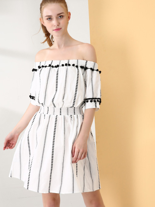 OneBling Textured Striped Mini Off Shoulder Dress with Pom Poms