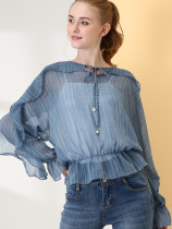 OneBling Ruffles Embellished Batwing Sleeve Tie Front 2 In 1 Striped Blouses