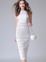 OneBling Fishnet Insert Mixed Striped Midi Pencil Dress
