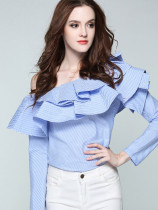 Long Sleeve Ruffles Layered One Shoulder Blouses