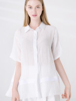 Grid Hem Loose Cotton Linen Textured Shirt