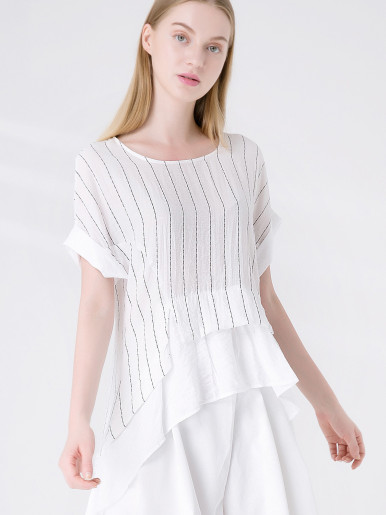 OneBling Rolled Sleeve High Low Ruffles Hem Loose Striped T-Shirt with Cotton Linen Fabric