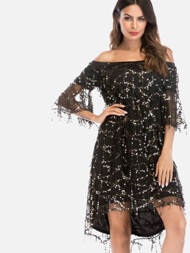 Fluted Sleeve Dip Hem Tassels Detail Off Shoulder Dress with Sequins Embellished